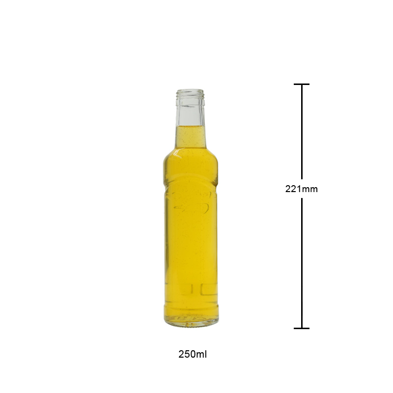 250ml Glass Bottle with Embossed Logo Empty Glass Bottle