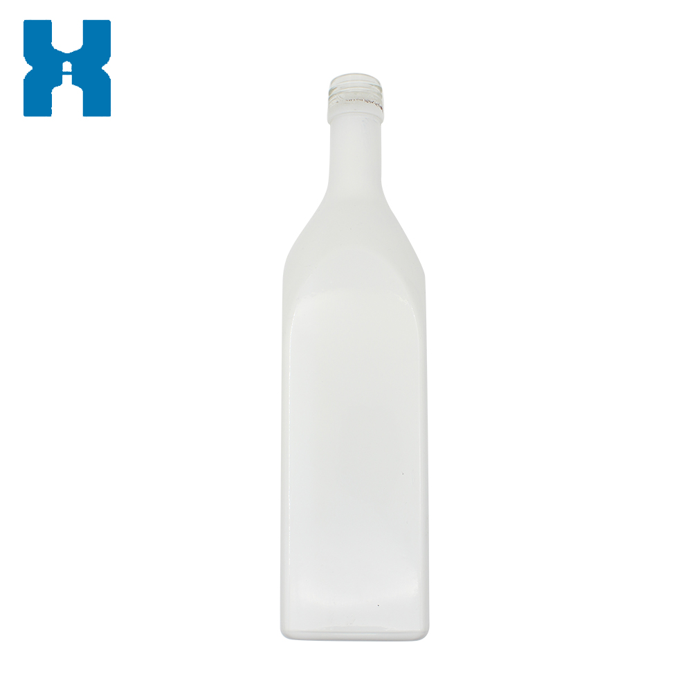 White Painting 750ml Vodka Glass Bottle